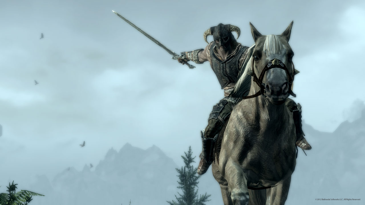 Skyrim - dragonborn fights form horseback